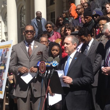 Speaking on the steps of City Hall with Council Member Robert E. Cornegy Jr. in support of Avonte's Law